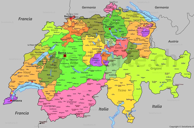 Svizzera Cartina.Preventivo Traslochi Per La Svizzera Da Caserta E Napoli